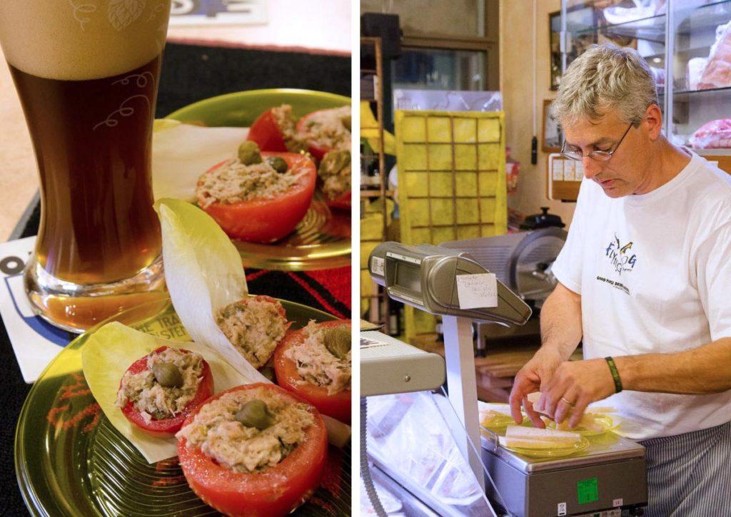 Freschi e goduriosi pomodori con tonno e capperi e Fabio alla preparazione del pane